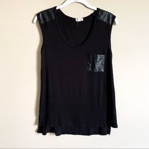 🌻 ONE CLOTHING - black faux leather tank - small